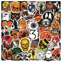 50 Sheet Retro Halloween Pumpkin Spooky Graffiti Sticker Trunk Guitar Water Cup Car Waterproof Easy Clean Self-adhesive Stickers