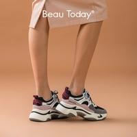 BeauToday grosses baskets femmes en cuir de vache mode papa chaussures maille couleur choc rétro plate-forme semelle à la main 29345