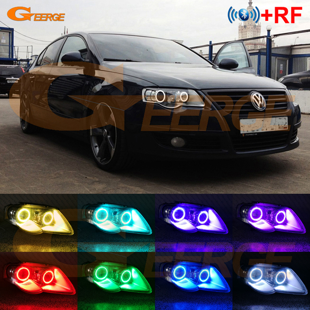 RF remote Bluetooth APP Multi Color RGB led angel eyes kit For Volkswagen VW Passat B6 Magotan 2005 2010 Xenon Headlight
