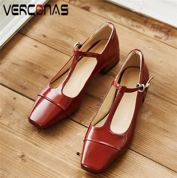 VERCONAS Women Genuine Leather Mary Jane Square Toe Slippers Working Shoes Sandals Thick Heels Summer Elegant Shoes Woman