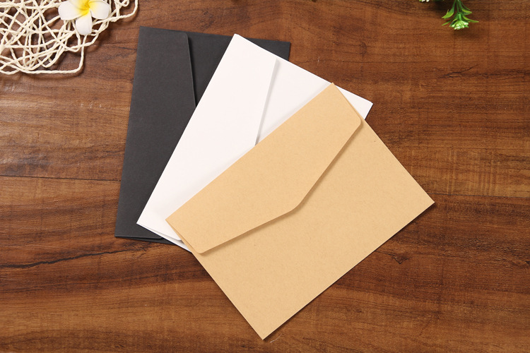 10pcs/set Classical Brown White Black Kraft Blank Mini Paper Window Envelopes Wedding Invitation Envelope Gift Envelope 3 Color