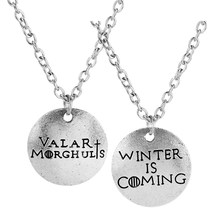 Fashion Jewelry Game of Thrones A Song of Ice and Fire Necklaces Valar Morghulis &Winter Is Coming Couple Necklace Lover Collier(China)