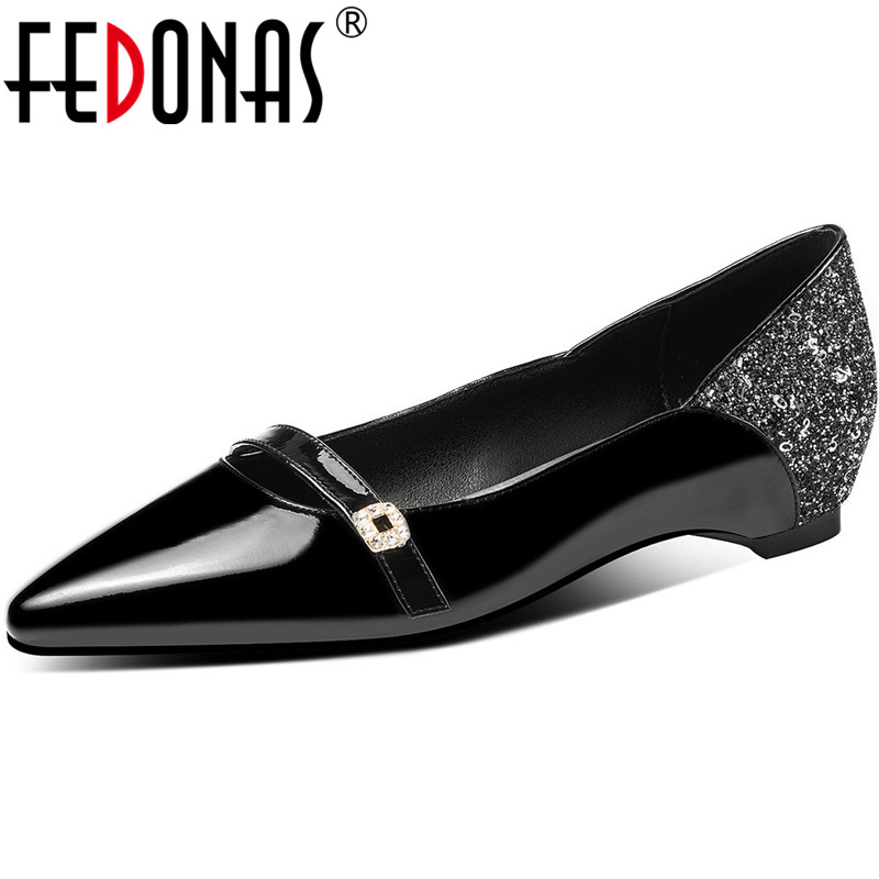 FEDONAS 2020 Summer Cow Patent Women Shoes Vintage Increase Within Heels Pumps Rhinestone Glitters Basic Vintage Shoes Woman