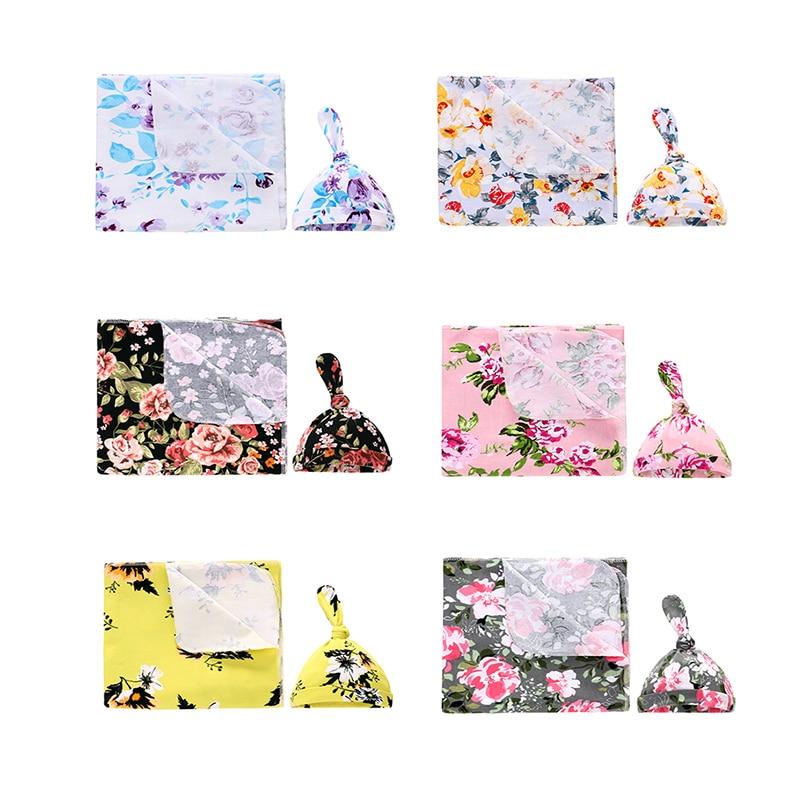1 Set 0-6 Months Newborn Muslin Floral Snuggle Receiving Swaddle Blanket +Hat For Baby Boys Girls Infant Sleeping Bag Wrap Cloth