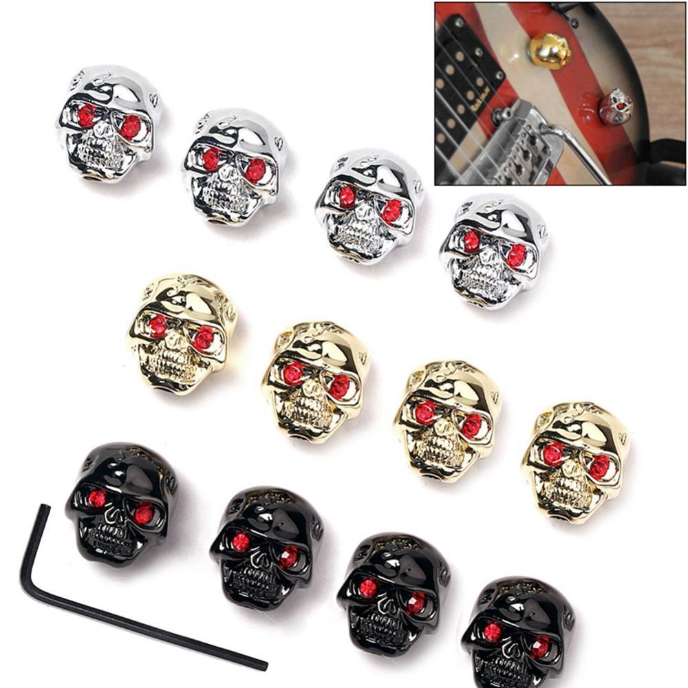 4 piezas de guitarra volumen tono calavera perilla Metal tapas bajo volumen perilla potenciómetro tapa con llave accesorios para guitarras