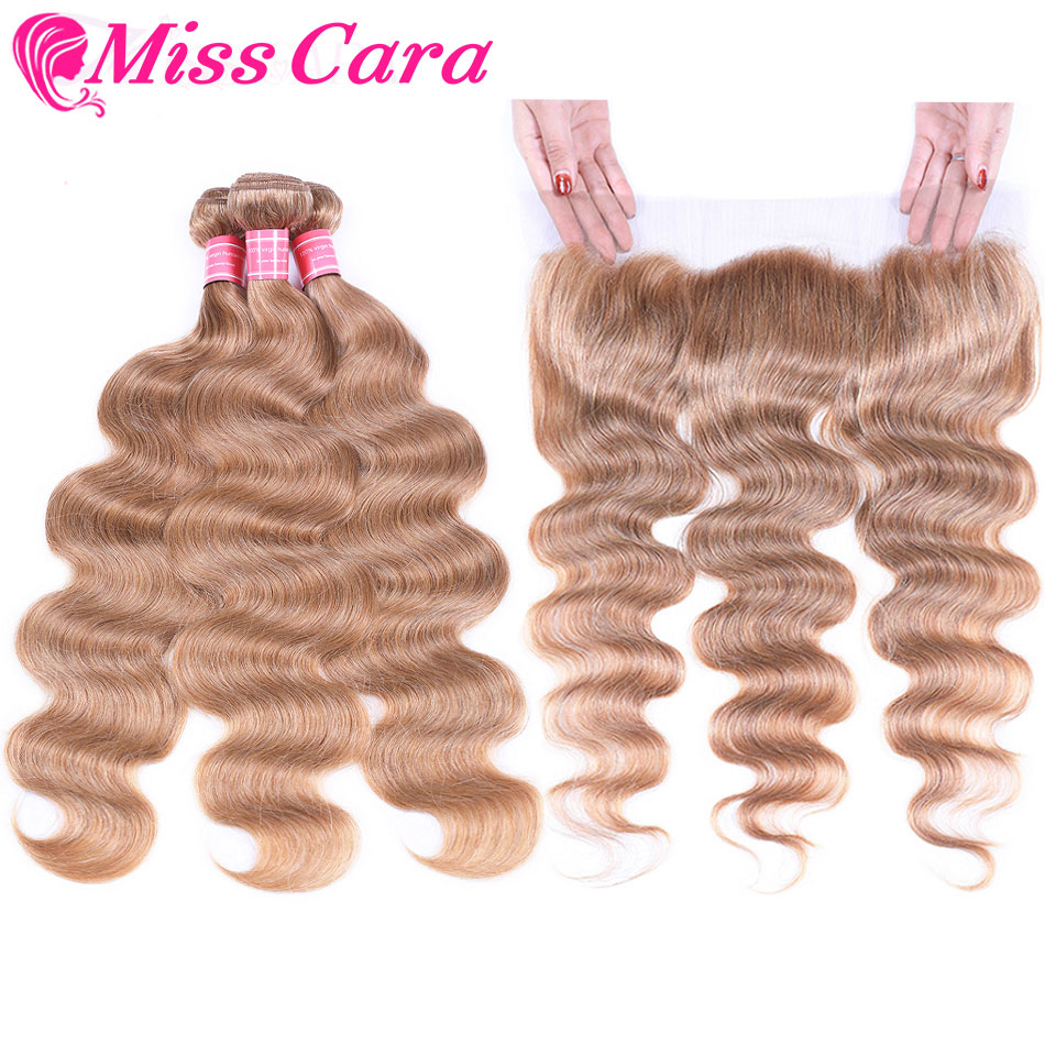Miss Cara Blonde 3 Bundles With Frontal #27 Brazilian Body Wave Human Hair Lace Frontal Closure With Bundles Remy Hair Extension