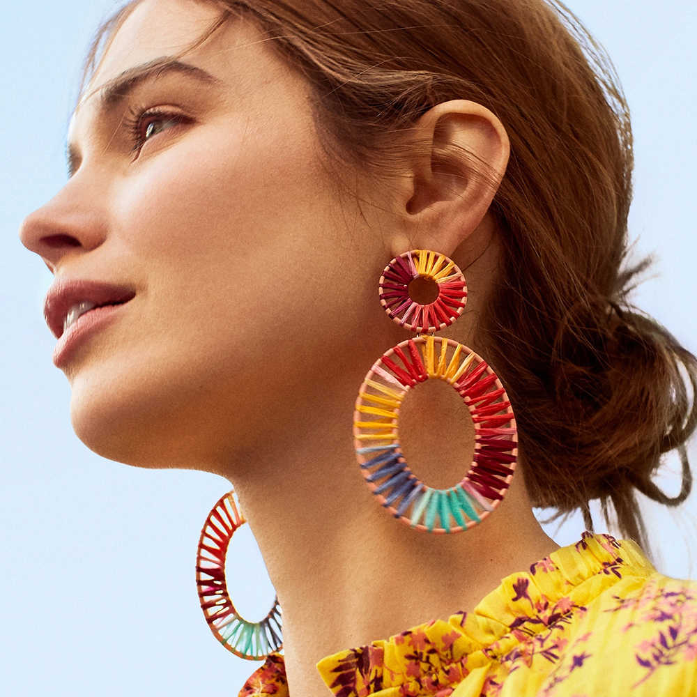 Bohemian Colorful Grass Geometric Dangle Earring 2019 Round Square Handmade Candy Color Statement Earrings For Women Jewelry