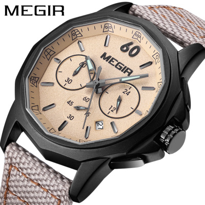 Fashion Top Brand Luxury MEGIR Watch New Leather Waterproof Watches Men Wrist Quartz Chronograph Wristwatches