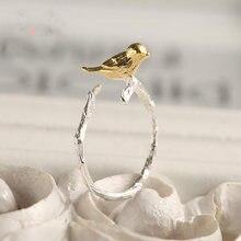 Personalidade exagerada prata esterlina pássaro anéis parágrafos tamanho ajustável anéis jóias moda de casamento