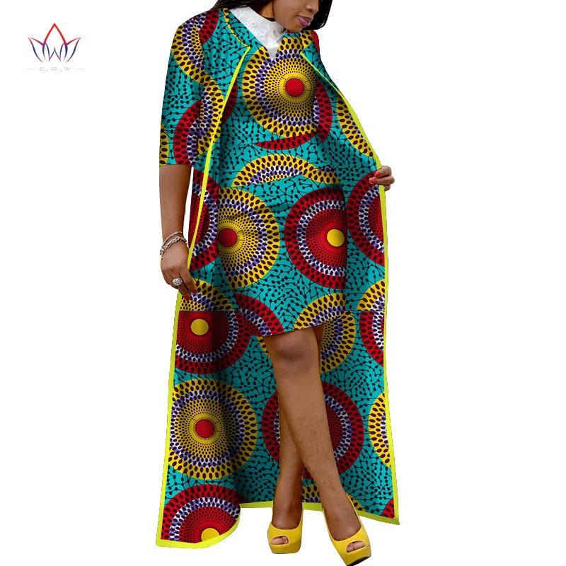 2019 automne jupe africaine ensembles pour femmes Dashiki x-long manteau et jupe afrique vêtements Bazin grande taille femmes ensembles WY3400