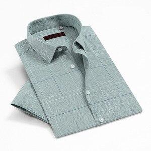 Camisas a cuadros para hombre, Camisas de manga corta para verano, Camisas antiarrugas de hierro para hombre, Camisas informales ajustadas y transpirables acogedoras