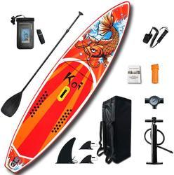 Aufblasbare Stand Up Paddle Board Sup-Board Surfbrett Kajak Surf set 11 * 33'' * 6'' mit Rucksack, leine, pumpe, wasserdichte tasche, flossen