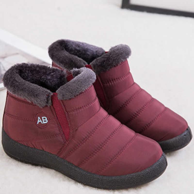 Kar Botları Kadın Kış 2019 Sıcak yarım çizmeler Kadınlar Için Su Geçirmez Kış Ayakkabı Kadın Yumuşak Hafif Bayan Botları Artı Boyutu 43