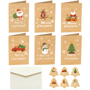 6sets Merry Christmas Kraft Gift Card Santa Claus Xmas Party Invitation Greeting Cards Blank Folding Card with Envelope Sticker