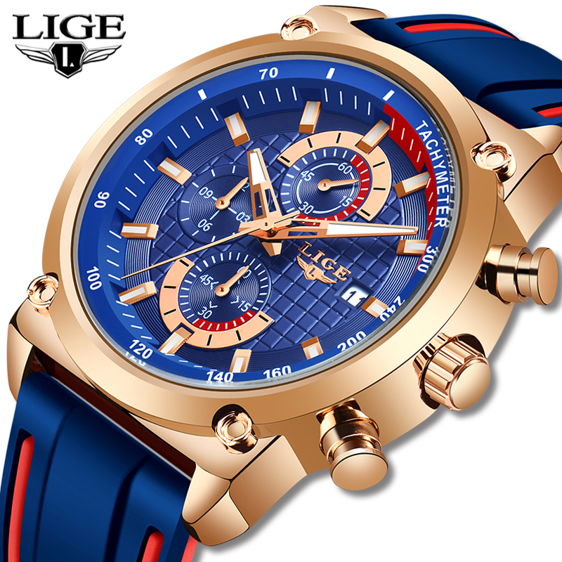LIGE New Creative Design Blue Watches Men Luxury Quartz Wristwatch Stainless Steel Chronograph Sport Men Watch Relogio Masculino