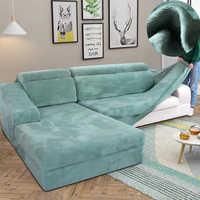Толстые плюшевые чехлы для диванов для гостиной, противоскользящие теплые чехлы для диванов, натяжные чехлы для диванов на зиму