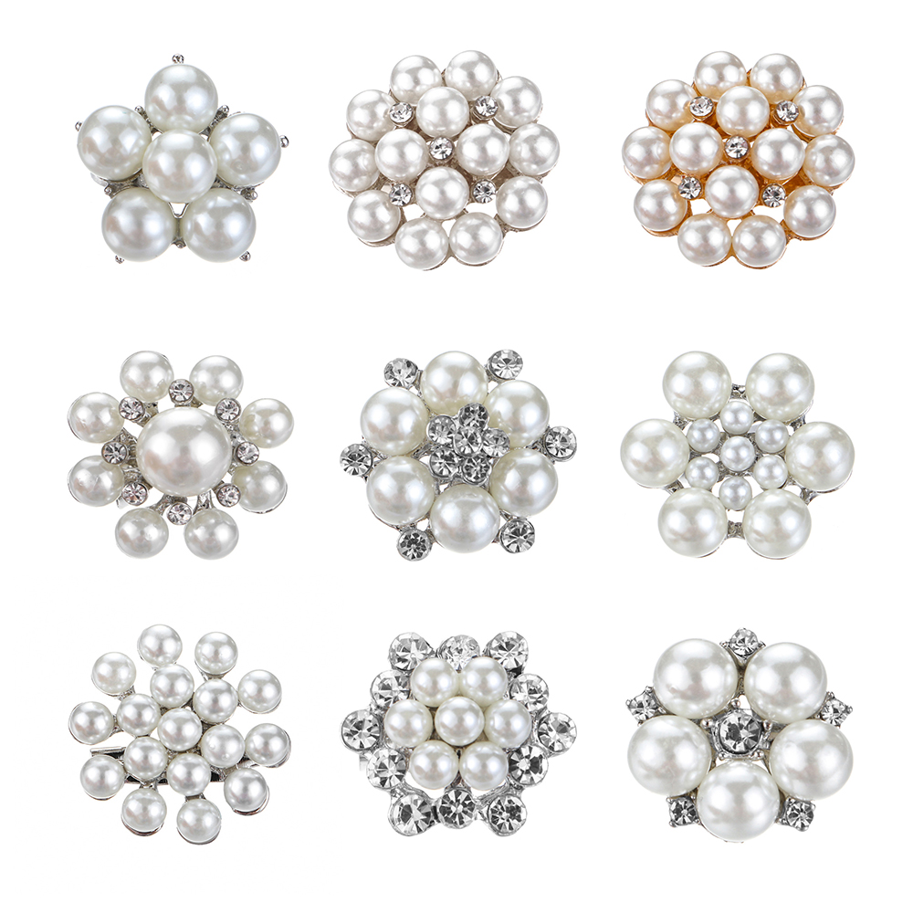 Woman Elegant Pearl Flower Rhinestone Bridal Wedding Jewelry Brooches Pin Gifts