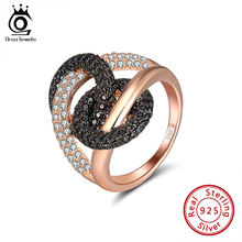 ORSA JEWELS Luxury Combine Circle Cocktail Rings Shiny Cubic Zircon Infnite Wedding Engagement Ring Trendy Fine Jewelry SR172