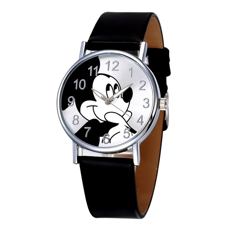 Kids Watch Boys Mickey Mouse Pattern Hot Sales Cute Leather Children Girls Women Crystal Dress Quartz Wristwatch Relojes Mujer