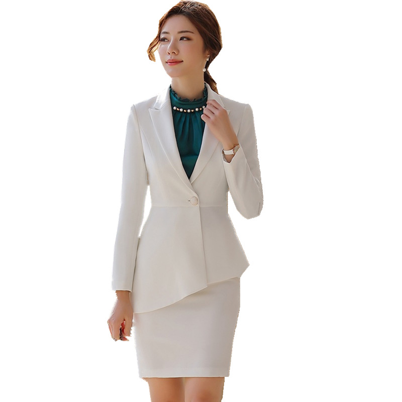 White Office Suit For Woman Skirt Suit Asymmetrical Ruffle Jacket Skirt Set Colleague Student Interviewee Work Suit 80879