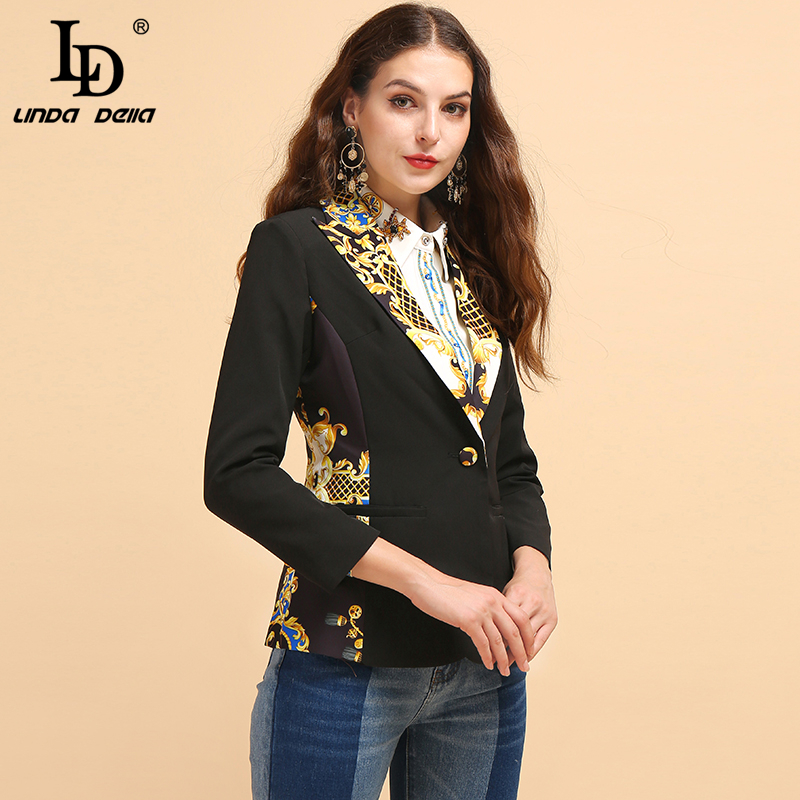 LD LINDA DELLA Fashion Runway Autumn Office Lady Blazer Women's Long Sleeve Printed Button Elegant Casual Black Coats Tops