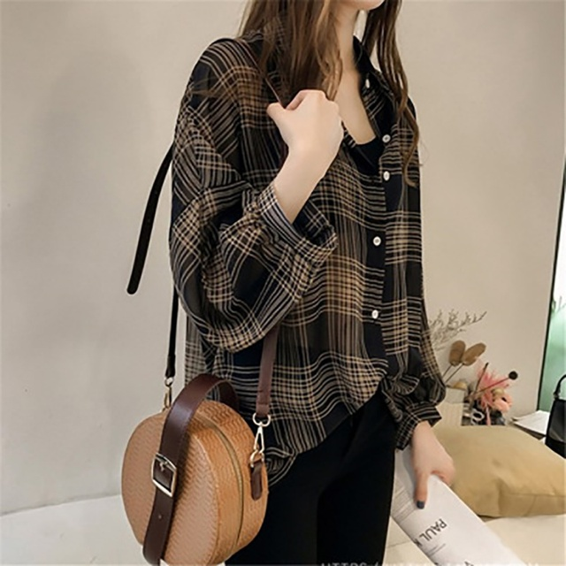 Autumn Chic Plaid Shirts Women Batwing Sleeve Chiffon Blouses Casual Chemise Femme Tops Plus Size Tartan Blusas Mujer M-4XL