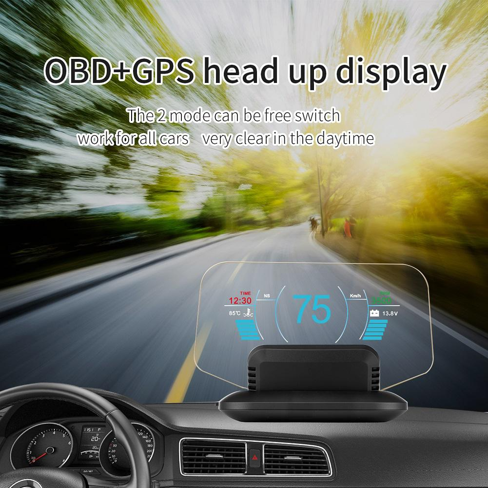 Dragonpad Universal Car HUD Head Up Display OBD2 GPS Dual Mode Head Display C1 HD Color LCD Display Kits 11V 18V DC in Head up Display from Automobiles Motorcycles