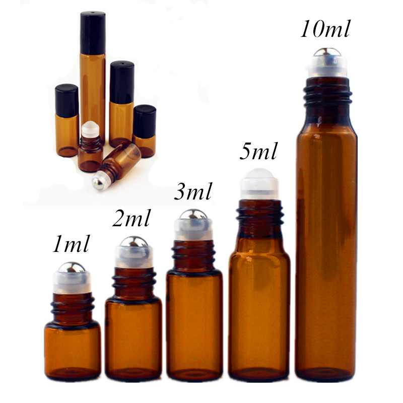 50pcs/lot 1ml 2ml 3ml 5ml 10m Amber Glass Roll On Bottle With Glass/Metal Ball Brown Thin Glass Roller Essential Oil Vials