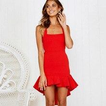 Party Slip Dress Elegant Ruffled Asymmetrical Red Dress Back Hollow Out Summer Red Dress Vestidos Mujer hollow cut insert knot back dress
