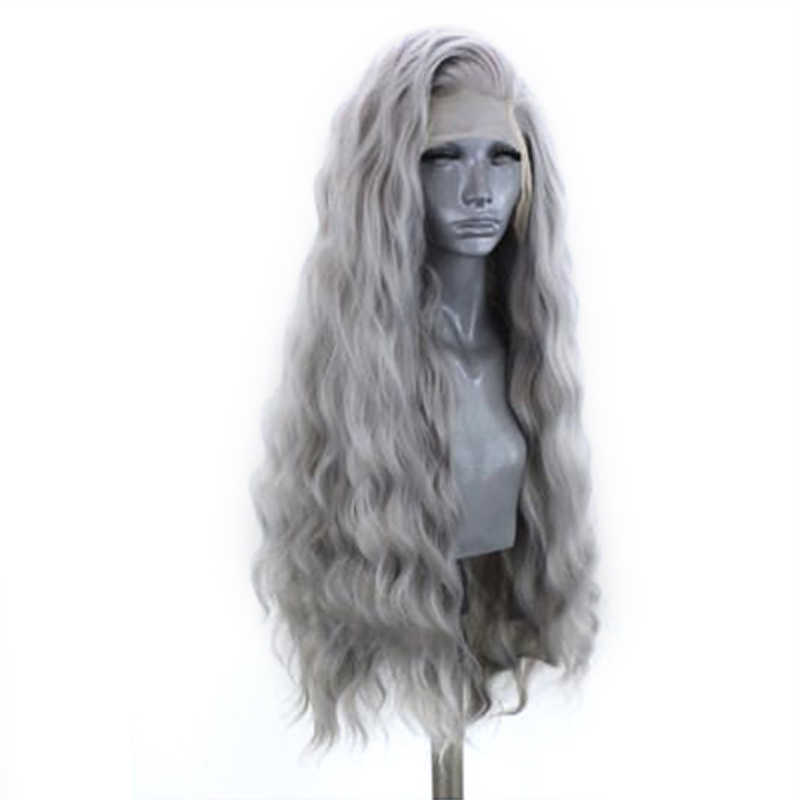 Peluca con malla frontal, color gris, con pelo Natural, resistente al calor y con ondas de agua para mujeres negras carisma