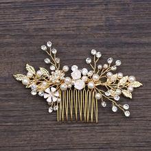 Золото Цвет лист расчески для волос ювелирные изделия Стразы