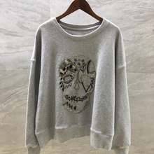 Cool Sweatshirt Loose Pullover Velvet Thin Embroidered Winter Cotton Beaded Skull Grey