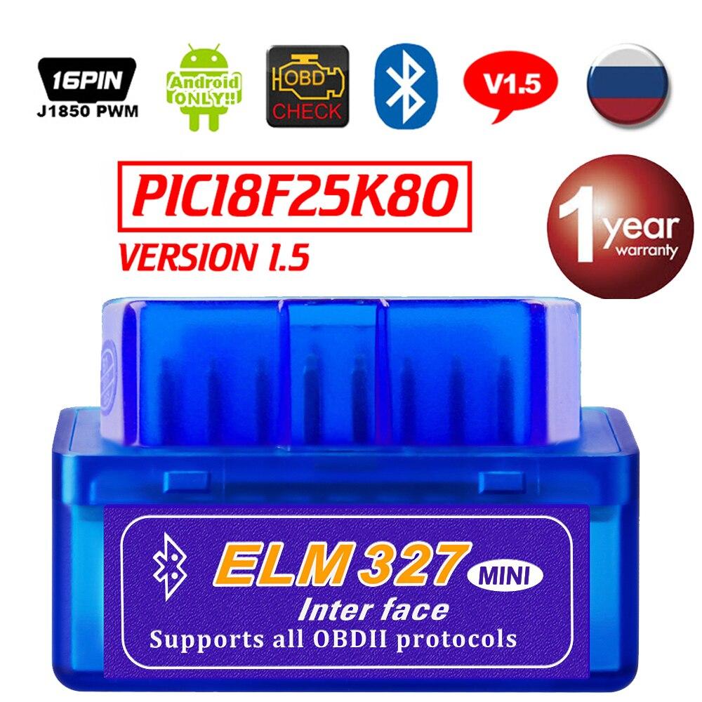Real ELM327 V1.5  Bluetooth OBD2 Scanner Android Car Diagnostic Tool Automotive OBDII Scaner Better V2.1