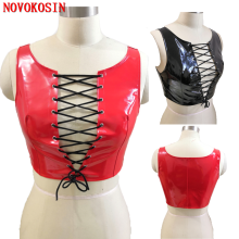 KH68 2020 Lady Strapped Vest Imitation Leather Packet Black Red Faux Front Bandage Bra Women Night Club DS Party Costume