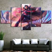 цены Home Decoration 5 Panel Game Poster LOL Irelia Modular Canvas Painting Artwork Wall Animation Pictures Printed