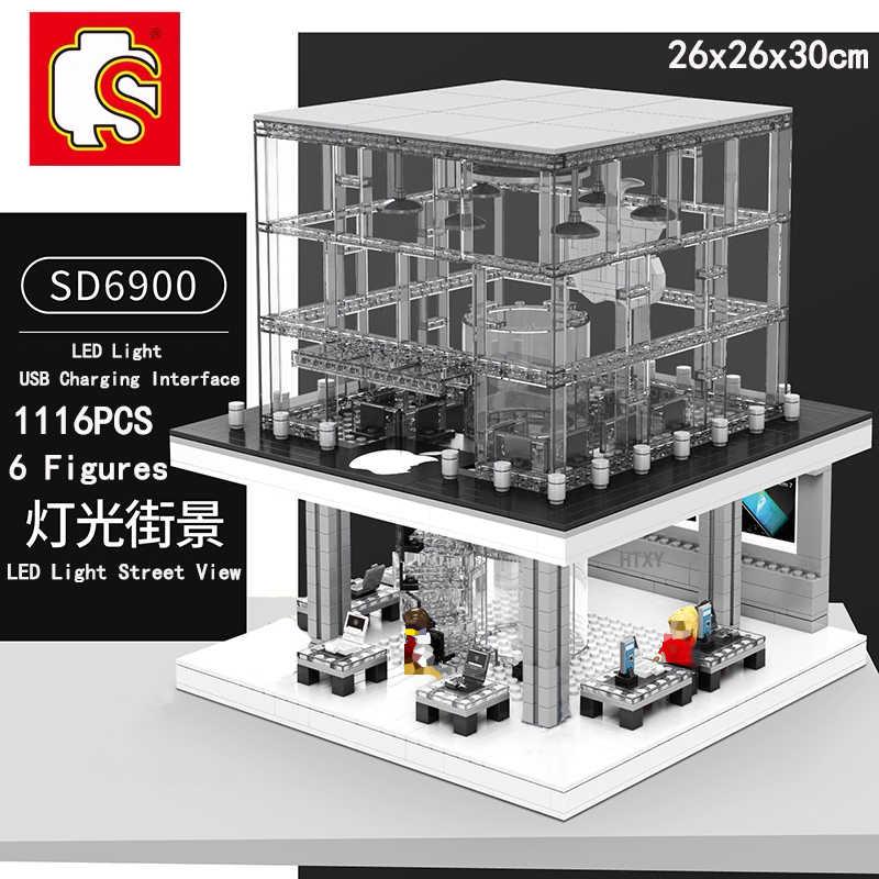 SEMBO Technik LED Licht Stadt Haus Street View Apple-Store Architektur Modell Creator Haus Bausteine Kinder Spielzeug Geschenke