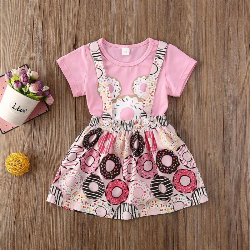 CANIS Summer Newborn Baby Girls Short Sleeve Top Ruffles Donuts Printed Skirts Outfit Clothes Set