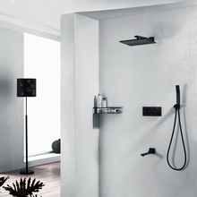 10 Inch Rainfall Shower Heads Brass Shower Faucets Set Bathroom Ceiling Shower Sets Black Color With Slide Bar Water Spout Taps waterfall rainfall shower head wall mounted bathroom massage shower set brass chrome shower faucets with water spout taps