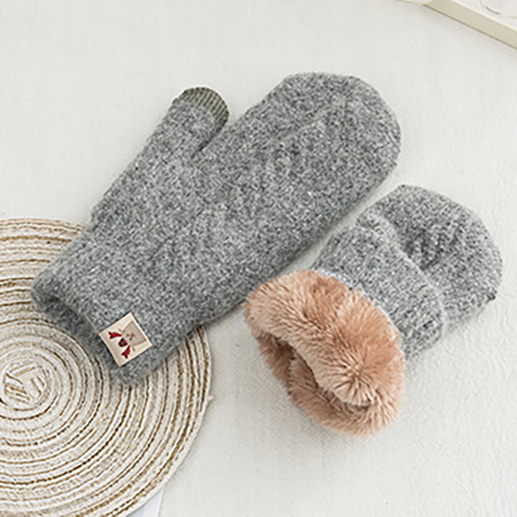 Women Gloves Winter Knitted Warm Delicate Pattern Windproof Gloves Mittens  Cute Play Mobile Phone Warm Gloves #4