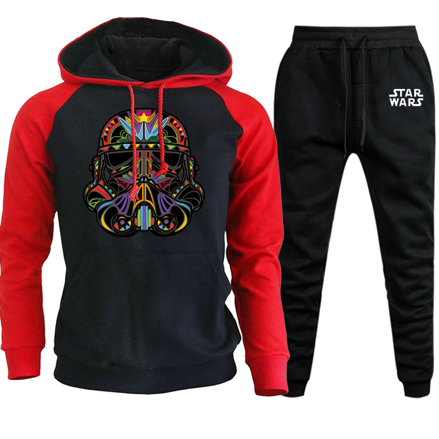 Autumn 2019 Hot Sale Star Wars Funny Stormtrooper Streetwear Men Raglan Hoodies Casual Pullover Suit Hooded+Pants 2 Piece Set