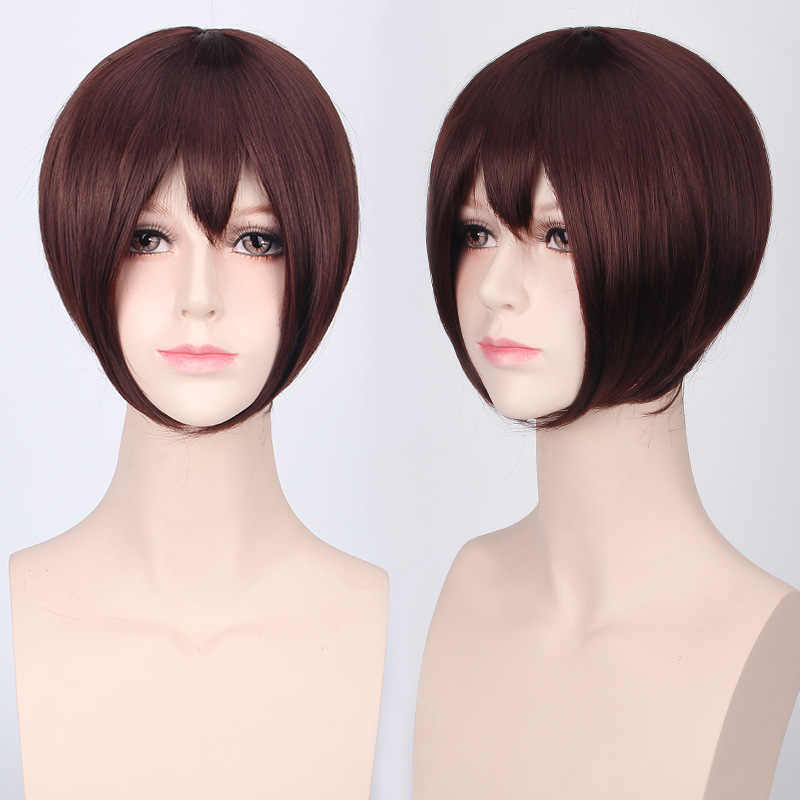 Tanie włosy syntetyczne krótki Bob peruki z grzywką żaroodporne szary różowy fioletowy blond czarny biały niebieski czerwony Anime peruka do Cosplay