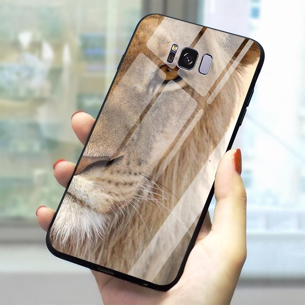 Print Big Lion On Stone Glass Phone Cover for Samsung Galaxy S7 Edge Case A70 A60 M40 A50 A40 A20 A30 A10 S7 S8 S9 Plus S10 image