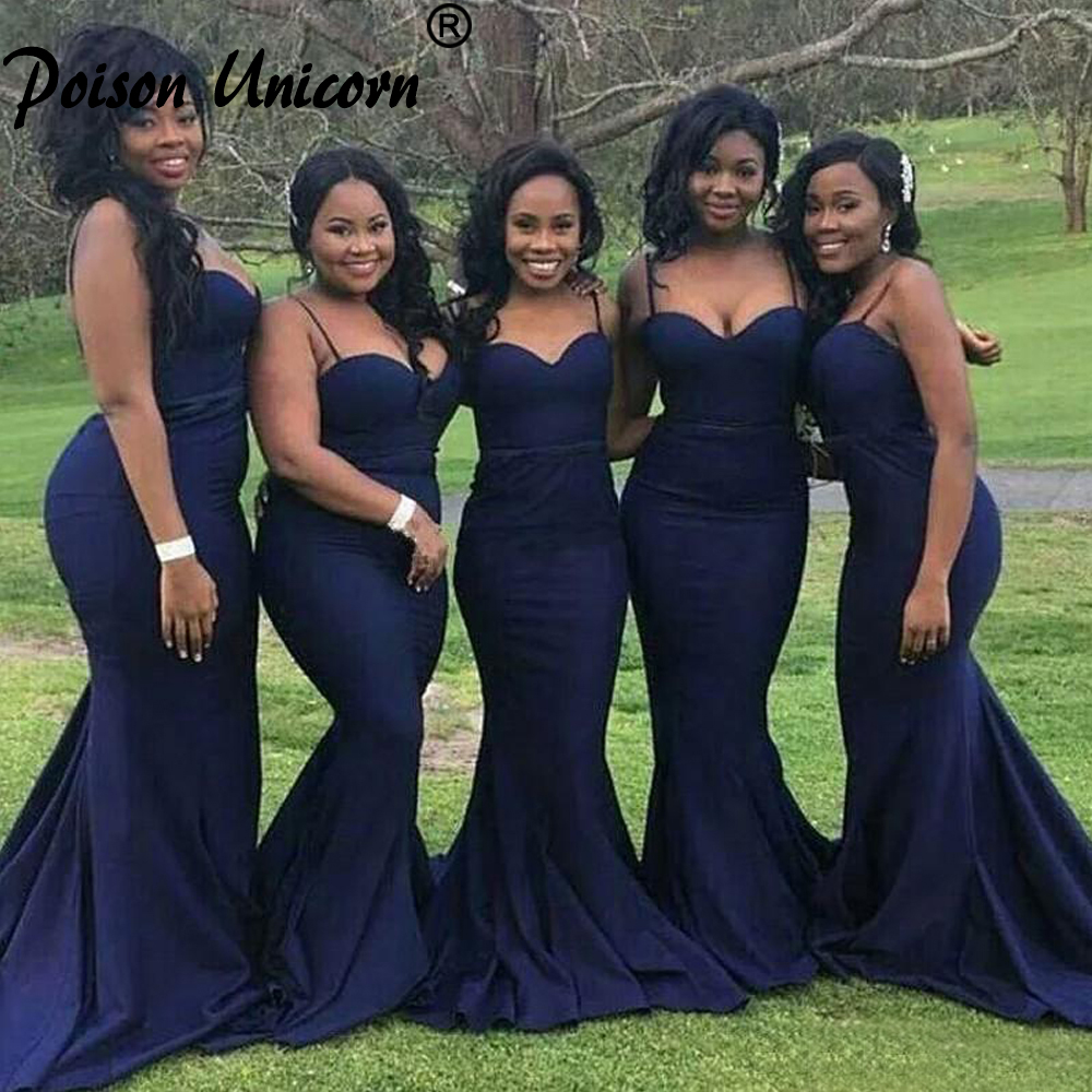 Sexy Navy Blue Bridesmaid Dresses for Wedding Guest Party Cheap Straps with Sweetheart Neck Formal Gowns for African Black Girls