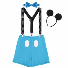 цены Cute Baby Clothing for Cake The Smash Mickey Mouse Cosplay Clothes Birthday Party Photography Prop 1st Birthday Outfit for Boy