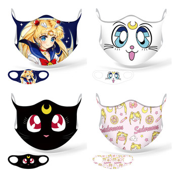 New Anime Sailor Moon Cosplay Mask Kawaii Tsukino Usagi Luna Cotton Washable Sports Street Women Girl Half Face Dust-Proof Masks
