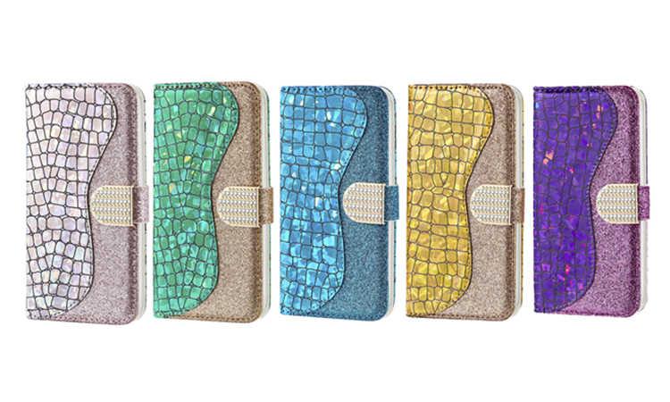 Deri samsung kılıfı Galaxy A50 A30 A20 A70 A10 A40 A60 A20E Bling Glitter kapak kitap samsung kılıfı A 50 70 30 20 10 kapak