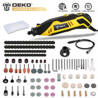DEKO DKRT01 220V Variable Speed Mini Grinder Electric Cutting Polishing Drilling Rotary Tool with Accessories