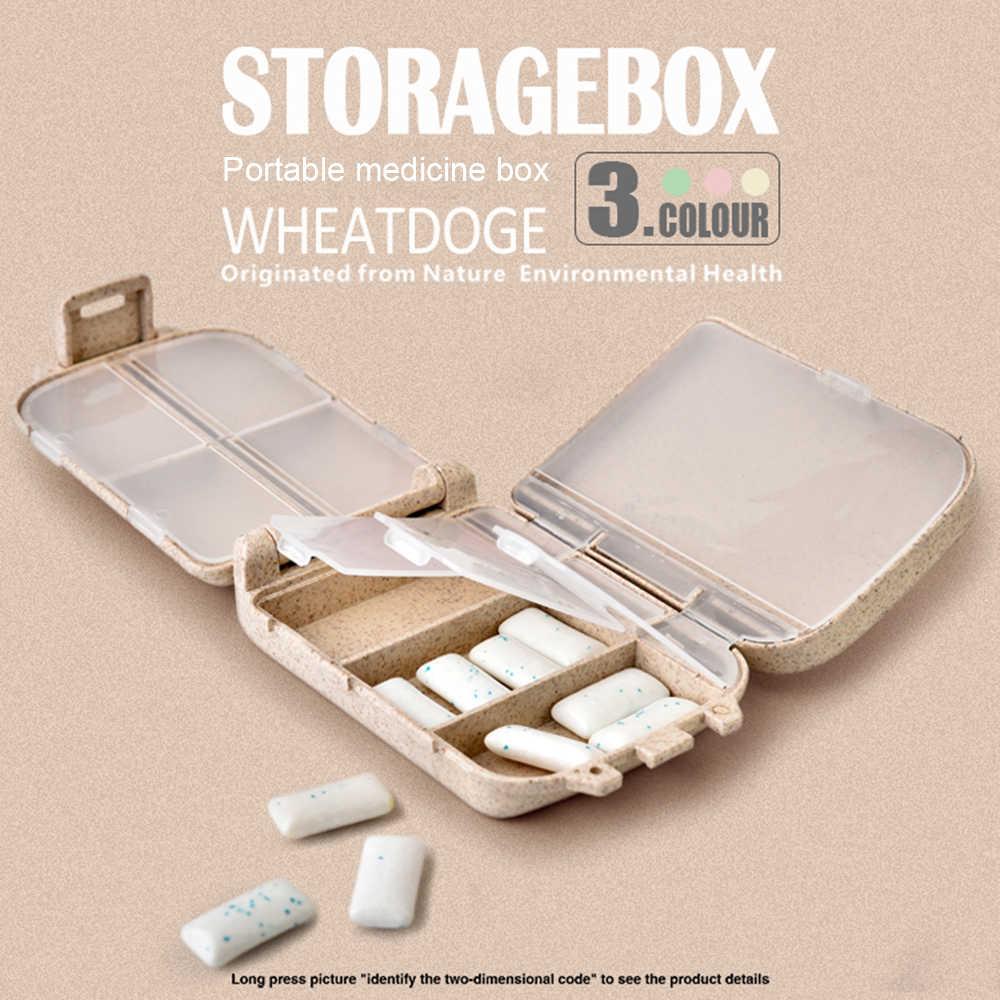 Pil Kotak Mini 8 Grid Obat Tablet Seminggu Kotak Obat Case Wadah Organizer Perawatan Kesehatan Obat Perjalanan Pembagi Portabel Biru Alat