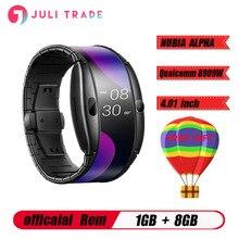 """Nowy zegarek telefon Nubia ALPHA 4.01 """"składany elastyczny wyświetlacz sport w czasie rzeczywistym wiadomość z przypomnieniem Bluetooth wywołanie gestów w powietrzu"""