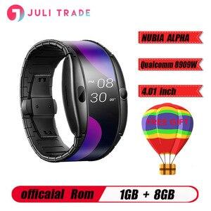 """Image 1 - Nuevo reloj Nubia ALPHA teléfono 4,01 """"Pantalla flexible plegable deportes en tiempo Real mensaje recordatorio Bluetooth llamadas gestos al aire libre"""